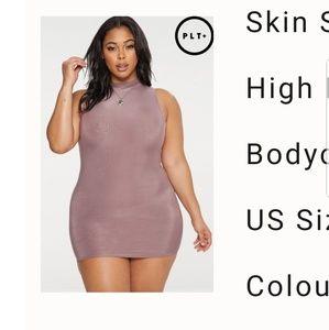 PrettyLittleThing Plus High Neck Bodycon Dress
